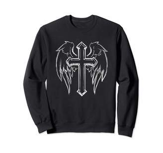 Christian Life Apparel Christian Cross and Angel Wings Religious Gift Sweatshirt