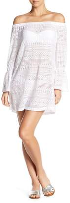J Valdi Off-the-Shoulder Ruffle Sleeve Cover-Up Dress