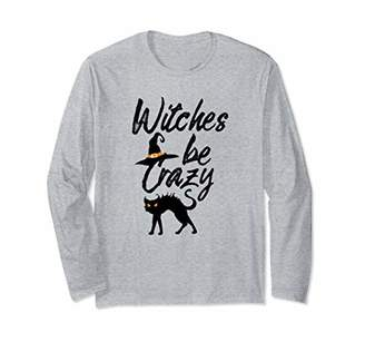 Witches Be Crazy Halloween Long Sleeve T Shirt Black Cat Tee