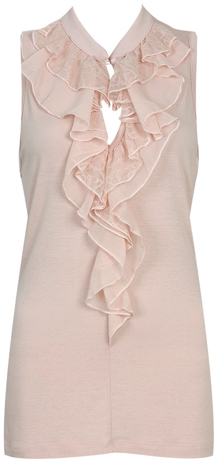 Lace & Ruffle Knit Top