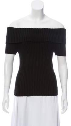 Michael Kors Off-The-Shoulder Rib Knit Sweater