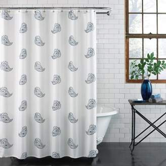 Ex Cell Home Fashions Excell Home Fashions BLUE PAISLEY FABRIC SHOWER CUR