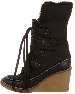 Chloé Chloé Shearling-Lined Wedge Ankle Boots