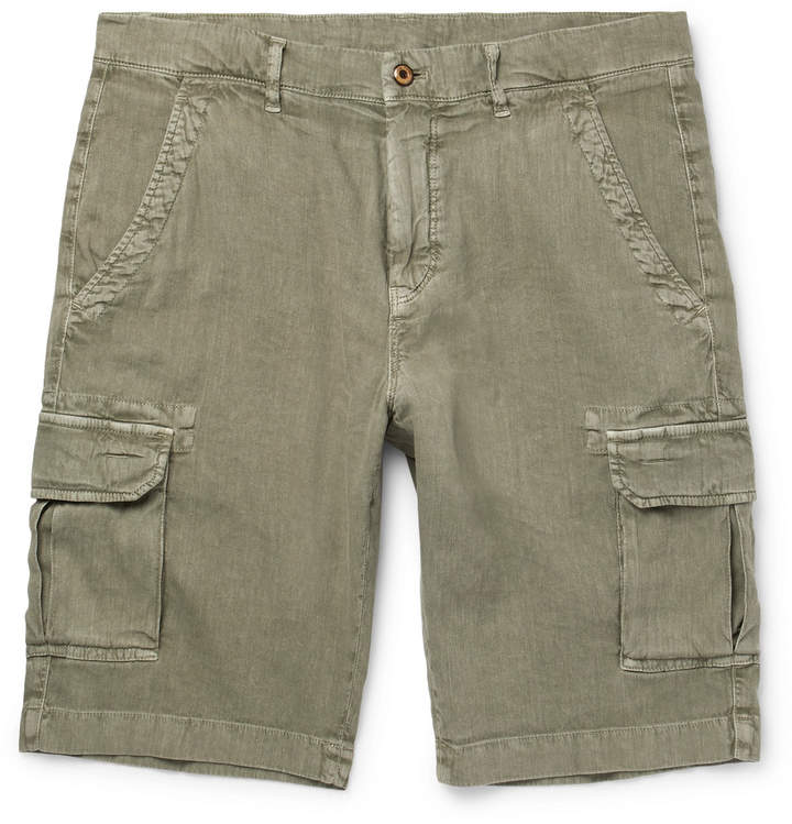 Stretch-Linen and Cotton-Blend Cargo Shorts