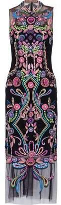 Marchesa Embellished Tulle Midi Dress