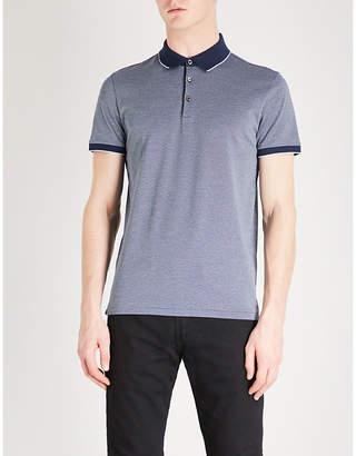 BOSS Patterned cotton-piqué polo shirt