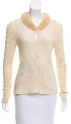 TSE Fur-Trimmed Cashmere Cardigan