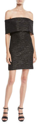 Halston Off-the-Shoulder Fitted Metallic Knit Dress