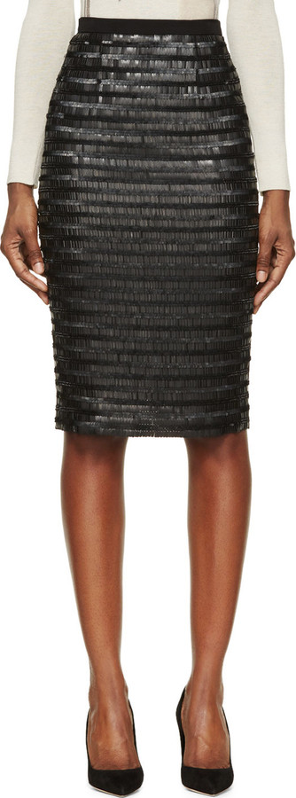 Burberry London Black Silk Sequin Embroidered Midi Skirt