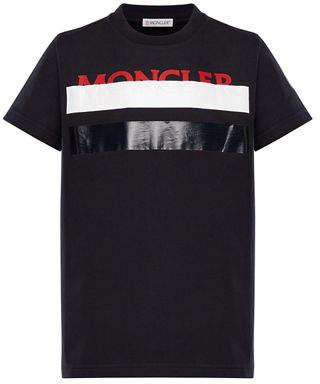 Moncler Colorblock T-Shirt w/ Hidden Logo Text, Size 4-6