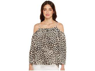 Vince Camuto Long Sleeve Leopard Song Cold-Shoulder Blouse Women's Blouse