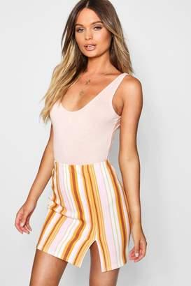 boohoo Striped Thigh Split Bodycon Mini Skirt