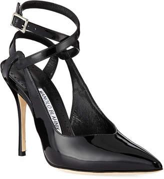 Manolo Blahnik Lero Patent Leather Crisscross Ankle-Strap Pumps