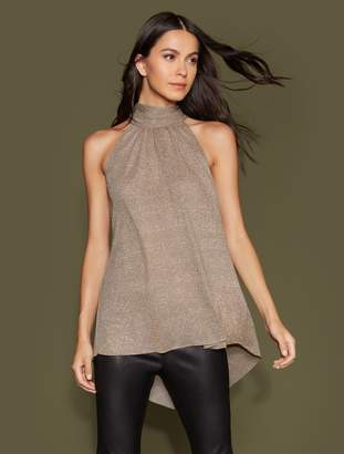 Halston Mock Neck Metallic Knit Hi Lo Top