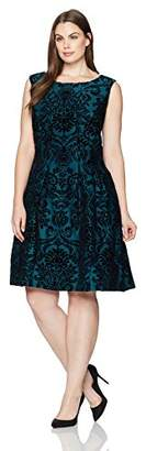 Gabby Skye Women's Plus Size Cap Sleeve Round Neck Scuba Fit & Flare Dress