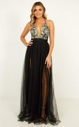 Showpo Vision of beauty maxi dress in black glitter - 8 (S) Occasion