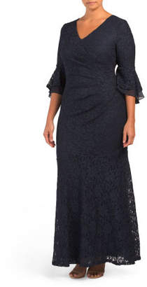 Plus V-neck Bell Sleeve Lace Gown
