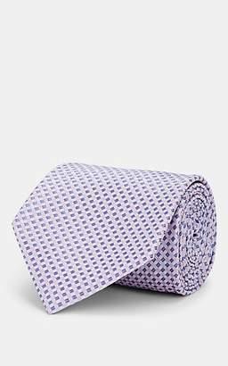 Brioni Men's Mini-Square-Grid Silk Satin Necktie - Purple