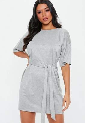 Missguided Grey Glitter Tie Waist T-Shirt Dress