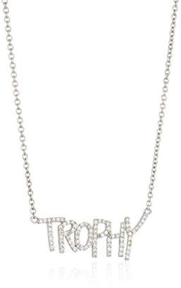 Betsey Johnson Blue Word Play Silver and Cubic Zirconia Trophy Necklace