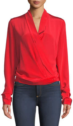 Diane von Furstenberg Crossover Long-Sleeve Silk Blouse