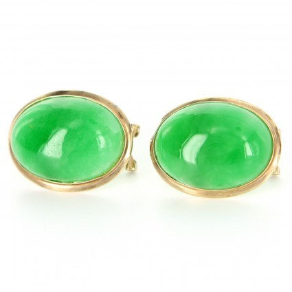 excellent (EX) Estate 14 Karat Yellow Gold Jade Cocktail Earrings