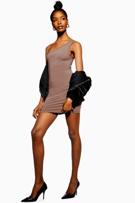 Topshop Womens One Shoulder Bodycon Mini Dress - Mauve