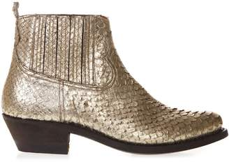Golden Goose Snakeskin Effect Gold Leather Ankle Boots