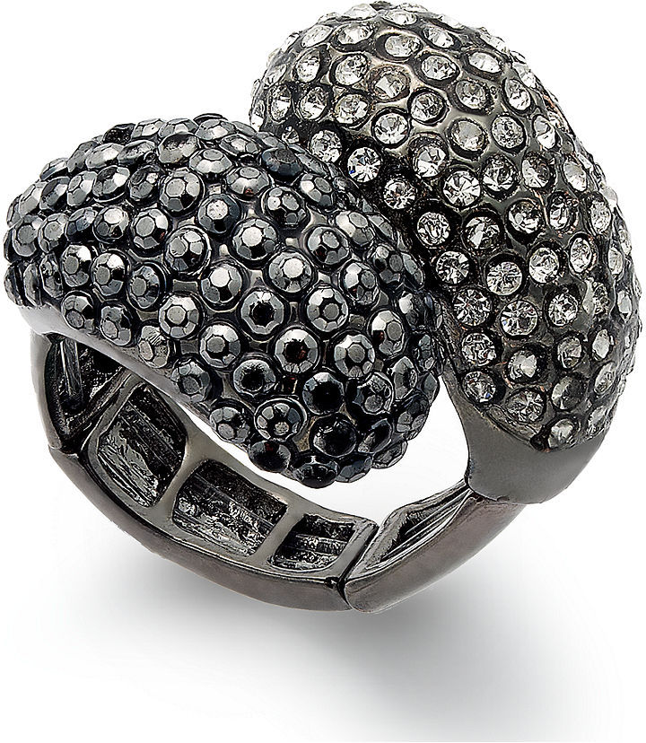 INC International Concepts Ring, Hematite-Tone Crystal Pave Stretch Ring