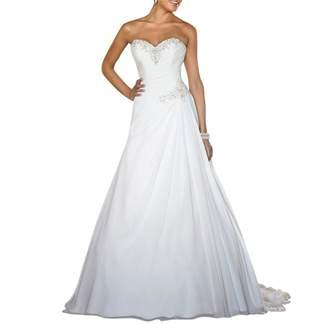 YDTQXG Chiffon Beach Wedding Dresses Sweetheart Beaded Sexy Low Back Bridal Gown -US