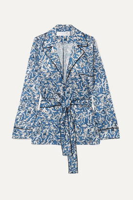 Victoria Beckham Victoria, Printed Satin-twill Shirt - Blue
