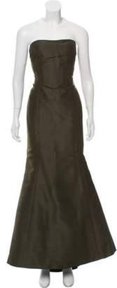 Oscar de la Renta Strapless Silk Gown Olive Strapless Silk Gown