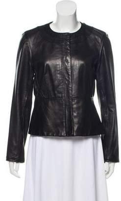 Diane von Furstenberg Scoop Neck Leather Jacket