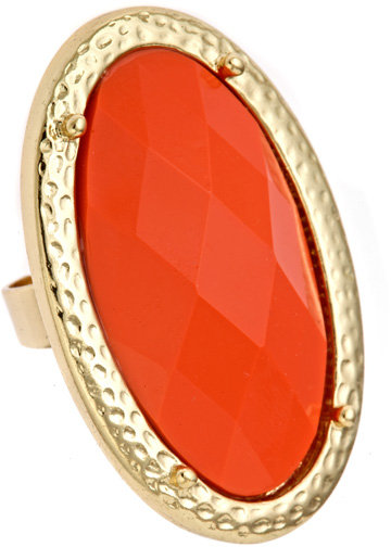 Blu Bijoux Coral Oblong Cocktail Ring