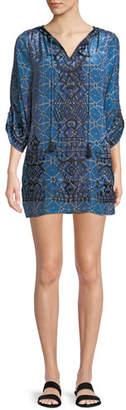 Tolani Kiki Tassel-Neck 3/4-Sleeve Shibori-Print Tunic Dress, Plus Size