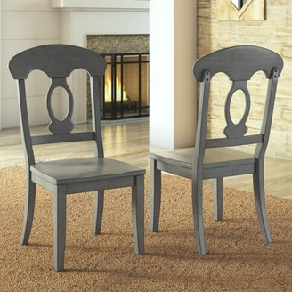 Weston Home Farmhouse Dining Chair with Napoleon Back, Set of 2, Multiple Finishes