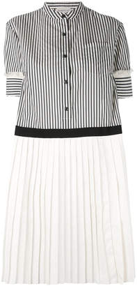 Moncler Short Sleeved Striped pleated dress