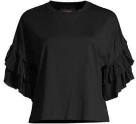 Robert Rodriguez Women's Giulia Pleated Sleeve Cotton Tee - Black - Size Small