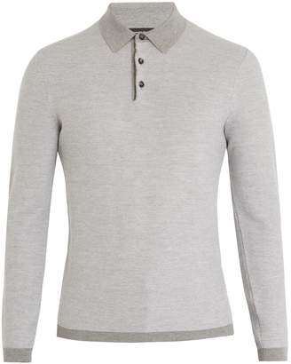 Ermenegildo Zegna Long-sleeved wool and cashmere-blend polo shirt