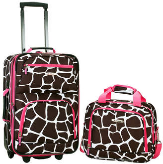 Rockland 2-Piece Pink Giraffe Luggage Set