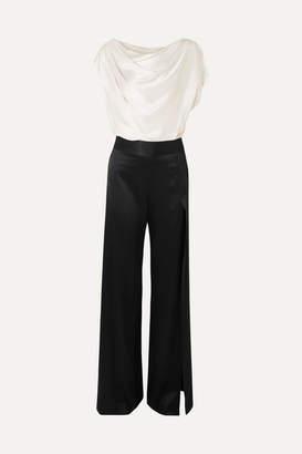 Mason by Michelle Mason Draped Two-tone Silk-charmeuse Jumpsuit - Ivory