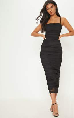 PrettyLittleThing Black Strappy Mesh Ruched Midaxi Dress