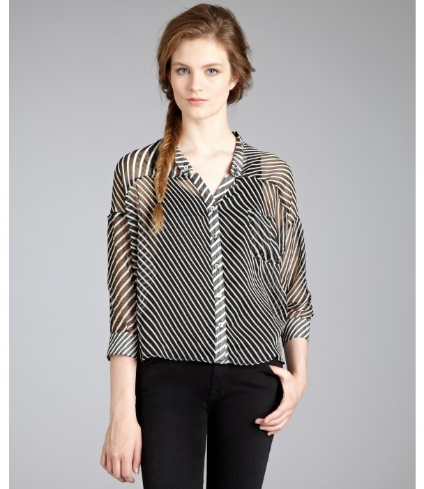 Renee C. black and white stripe button front hi-low blouse