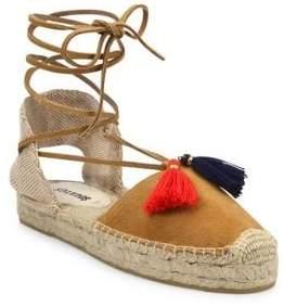 3a3e47f7b68 Soludos Women s Suede Lace-Up Tassel Platform Espadrilles - Tan - Size 6