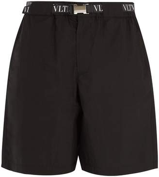Valentino Logo-print belted cotton-blend shorts