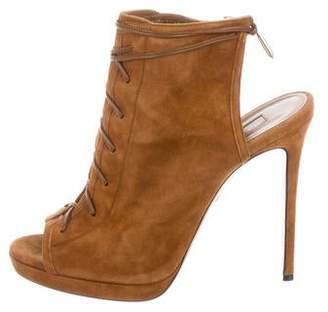 Aquazzura Suede Peep-Toe Ankle Boots