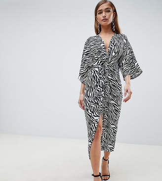 c4895144f3 Asos DESIGN Petite kimono dress in midi length in zebra Animal print