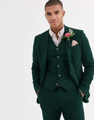 Design DESIGN wedding super skinny suit jacket in forest green micro texture
