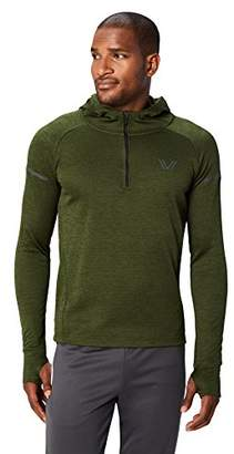 Peak Velocity Men's Thermal Waffle Long Sleeve Athletic-Fit Run Quarter-Zip Hoodie