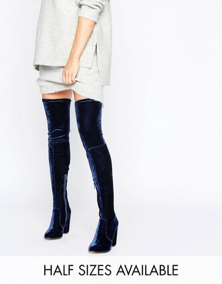ASOS KINGDOM Velvet Heeled Over The Knee Boots $83 thestylecure.com